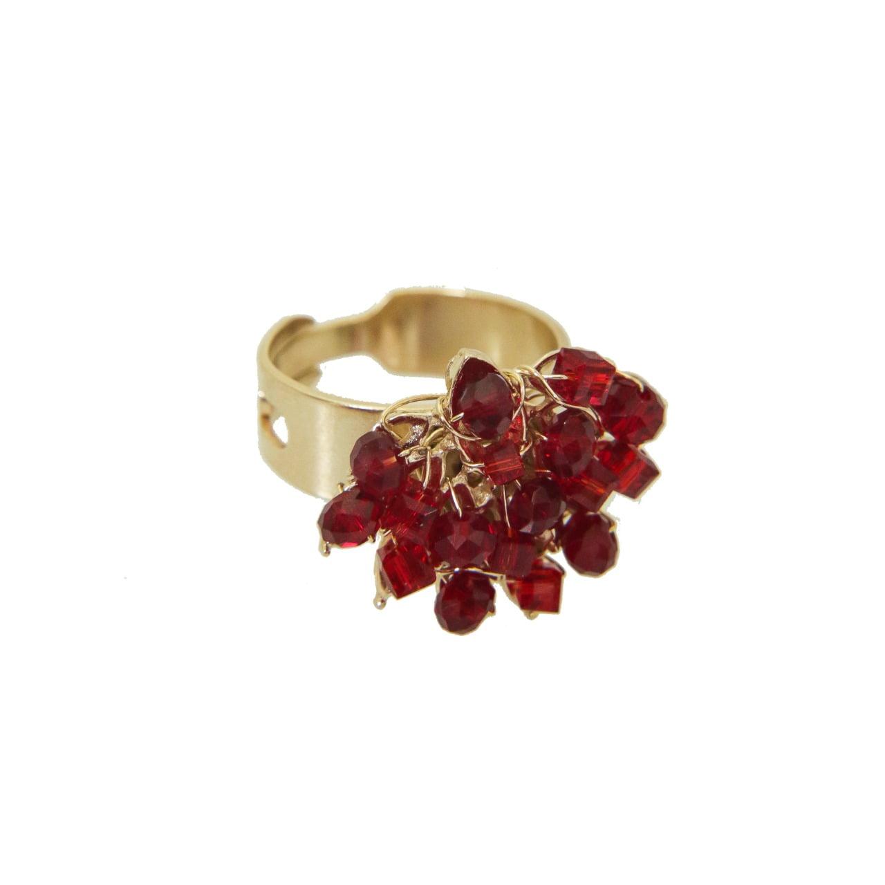 Anel bordado com cristais vermelho folheado em ouro 18k - A3VM0001