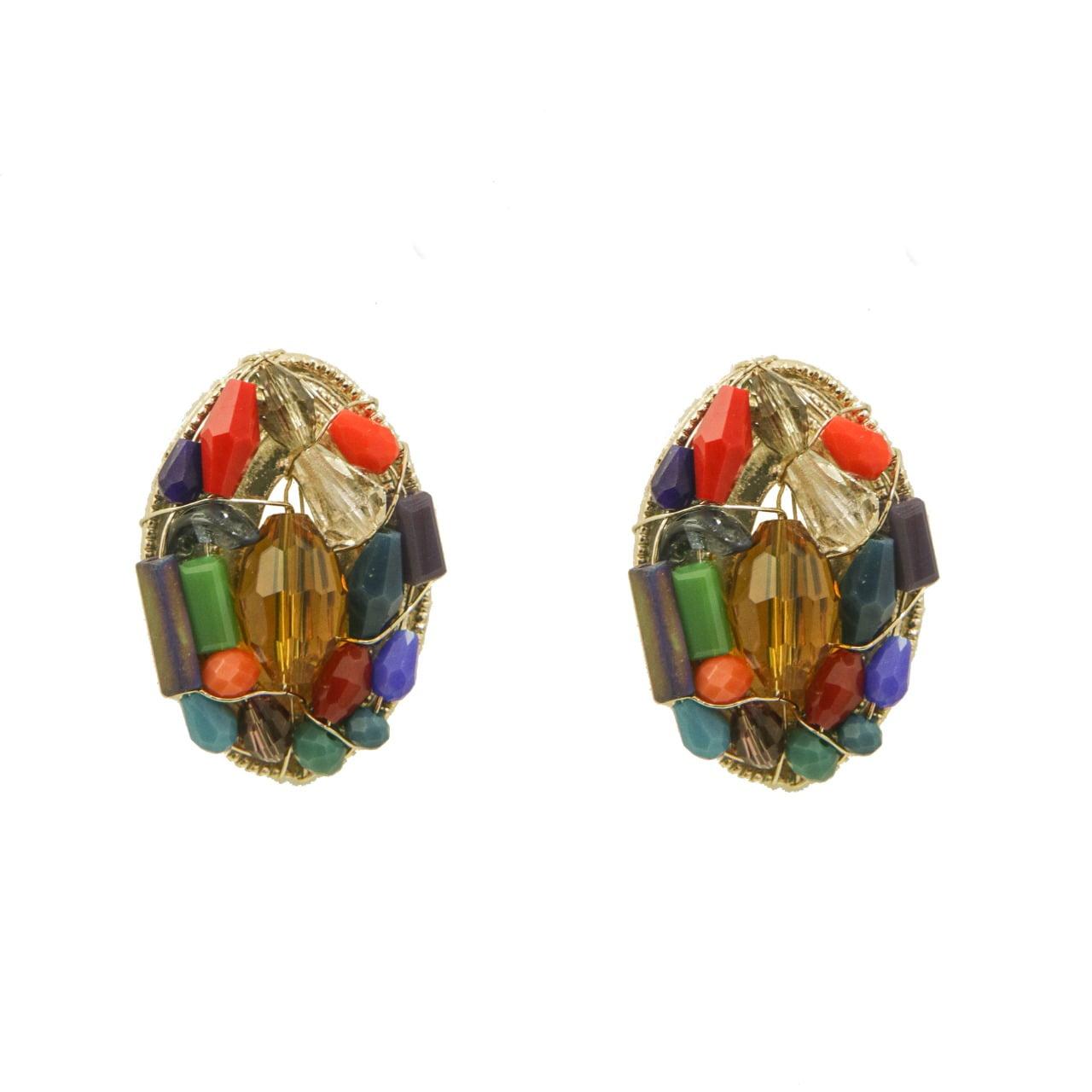 Brinco bordado com cristais coloridos folheado em ouro 18k - B3C0087