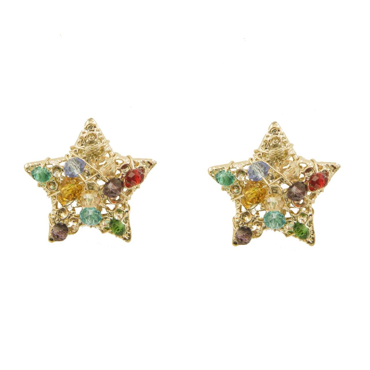 Brinco de estrela bordado com cristais coloridos folheado em ouro 18k - B3C0083
