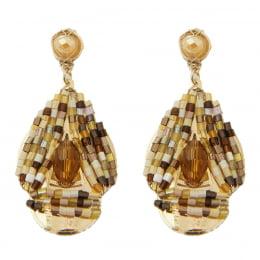 Brinco bordado com cristais tons marrom e vidrilhos tons marrom folheado em ouro 18k - B3MN0028