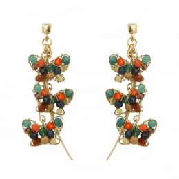 Brinco de borboleta  bordado com cristais coloridos e contas de madeira coloridas folheado em ouro 18k - B3C0067