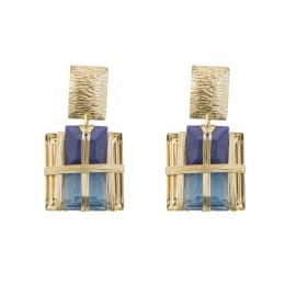 Brinco bordado com resinas tons azul folheado em ouro 18k - B3A0017